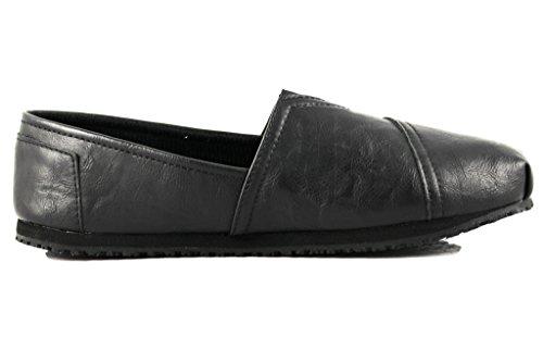 Townforst® Damen Slip und ölbeständige rutschfeste Arbeitsschuhe Jess PU Leder Slip-On Flat Schwarz
