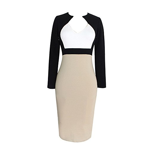 Dreaweet Women's Long Sleeve Bodycon Office OL V-neck Causal Pencil Dress, White and Beige, XXL
