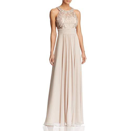 Eliza J Women's Lace Bodice Dress with Chiffon Waistband-Skirt, Beige, 6