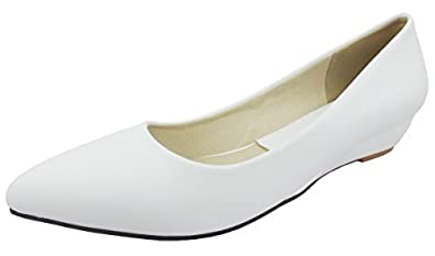 SHOWHOW Womens Sweet Bowknot Slip-on Wedges Pumps Shoes