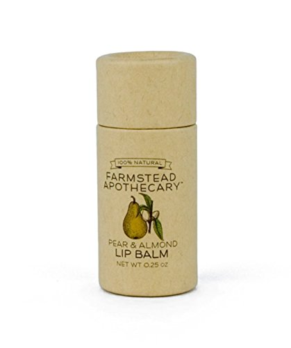 100% Natural Lip Balm with Organic Beeswax, Organic Shea Butter & Organic Coconut Oil, Pear & Almond 0.25 oz ()