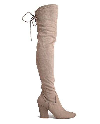 J. Adams Thigh High Block Heel Boot - Pointed Toe Stretchy Over The Knee - Telly