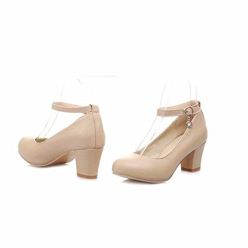 Las mujeres con tacones altos con áspero ronda pink Bridesmaid palabra dulce zapatos blancos hebilla Apricot