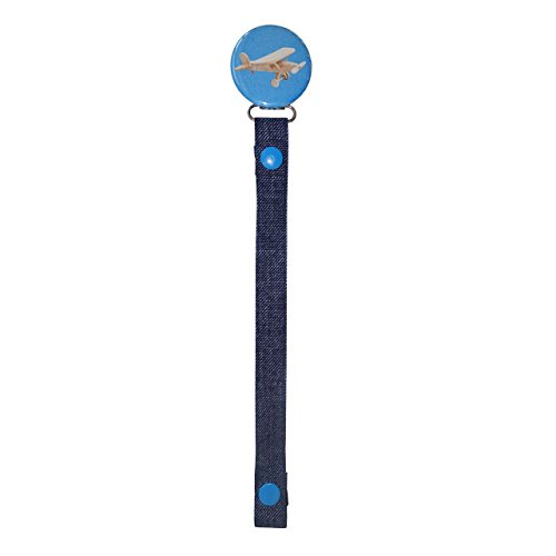 - ClassyPaci Airplane Chambray Pacifier Clip