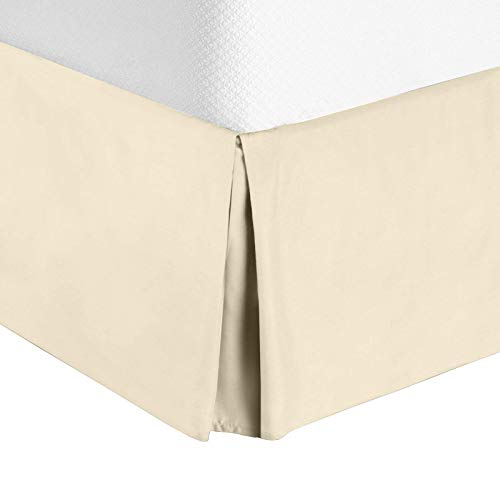 "Cream Bedskirt - Nestl Bedding Pleated Bed Skirt - Luxury Microfiber Dust Ruffle, 14"" Tailored Drop, Queen, Beige"
