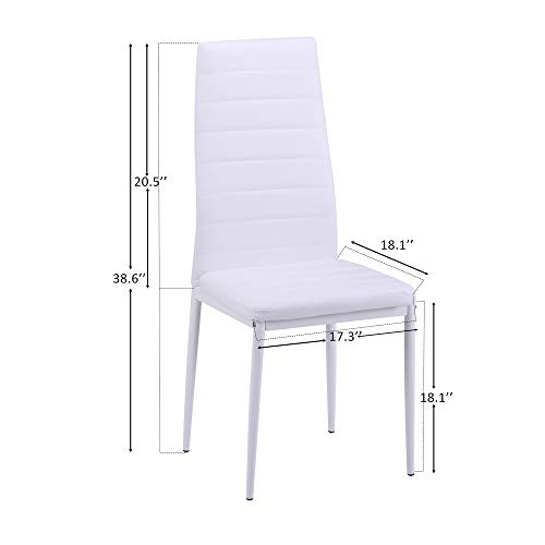 Merax Set of 4 Dining Room Chairs PU Leather Home Furniture Kitchen Side Chairs (White) by Merax (Image #5)
