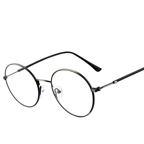 GQUEEN Blue Light Blocking Computer Glasses,Anti Glare Eye Fatigue with Retro Round Circle Metal Frame,GQ40 ()