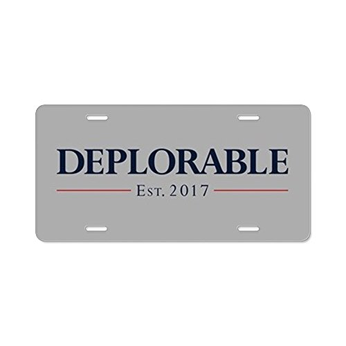 CafePress - Deplorable Est 2017 - Aluminum License Plate, Front License Plate, Vanity Tag -