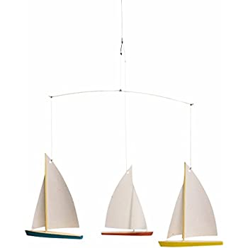 Flensted mobiles dinghy regatta 3 hanging mobile 15 inches beech wood