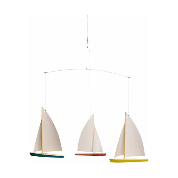 Flensted Mobiles Dinghy Regatta/3 Hanging Mobile – 15 Inches Beech Wood