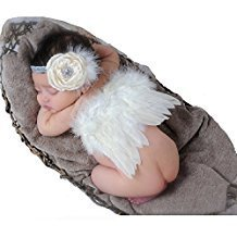 Fanamskl Baby Girl Headband With Angel Feather Wing Costume Photo Prop - Newborn Wings Angel Photo Prop