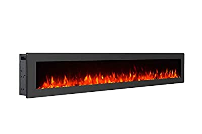 """MMJ 60"""" Electric Fireplace - Wall-mounted Heater Freestanding Fireplace With Remote Control, 1500 / 750W, Black"""