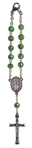 Cathedral Art May/Emerald Birthstone Car Rosary, 6 Inches, KT705