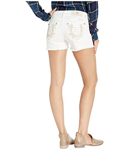 - Miss Me Women's Frayed Horseshoe Shorts in White White 28 3