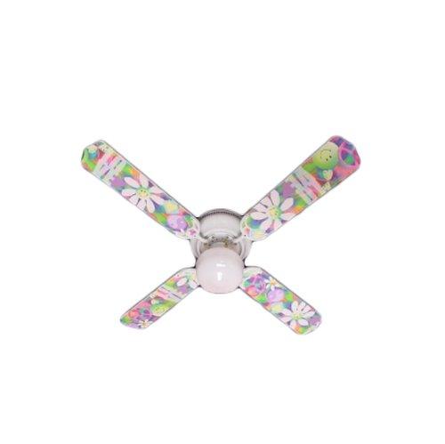 Ceiling Fan Designers Ceiling Fan, Peace Love Happy Face 60'S Flowers, 42
