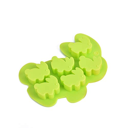 setyuty 6-Cavity Happy Easter Cute 3D Rabbit Bunny Shaped Silicone Cake Fondant DIY Mold Pudding Chocolate Baking Mould Soap Ice Cube Tray Random Color]()