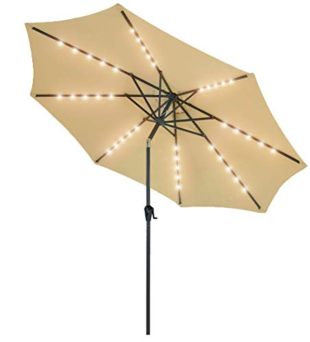 Patio Watcher 9 FT Patio Umbrella Powered Ou 40 LED with 2 Charge Modes(Solar and Adaptor) 250GSM Fabric, with with Push Button Tilt and Crank, Beige