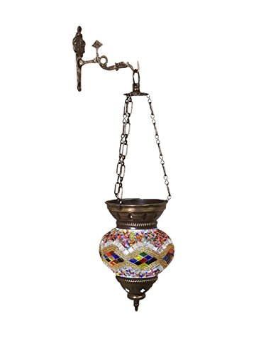 (Phat Tommy Artisans Domestic Hand Made Mosaic Colored Glass Hanging Lantern & Candle Holder- Pendant for Home Decor, White)