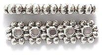 Shipwreck Beads Zinc Alloy 5 Hole Daisy Spacer Bar, 4 x 15 mm, Silver ()