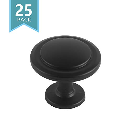 - SMART ONYE Black Zinc Alloy Kitchen Cabinet Knobs-1-1/4