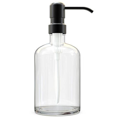 Recycled Glass Soap Dispenser with Bronze Color Stainless Steel Pump. 100% Quality Guarantee. Classic Modern Design for Kitchens or Bathrooms. Stylish Packaging with Re-usable Drawstring Bag.