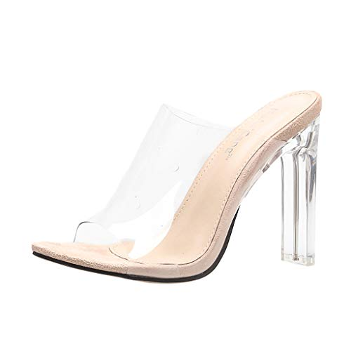 Women Clear High Heel Sandal - Ladies Lucite Clear Block Chunky Pump Sandals - Casual Peep Toe Shoes (6.5, ()
