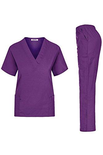 (MedPro Women's Unisex Solid Medical Scrub Set V-Neck Top and Cargo Pants Dark Purple M (GT-766))