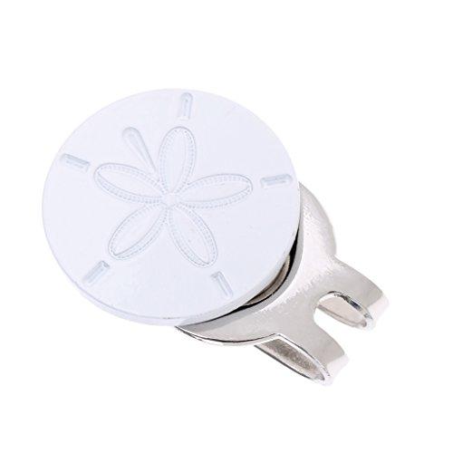 MonkeyJack Sturdy Alloy White Flower Magnetic Cap Hat Visor Clip Golf Ball Marker Golfer - Hat Marker Ball Flowers Clip