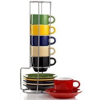 Espresso Cups Set by Gibson Coffee cup set with metal rack Stackable Coffee mug set Turkish Coffee cup set Assorted colors 13 pcs cups and saucers(each cup 2.5oz), Sensations