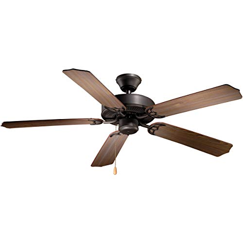 Indoor Ceiling Fans Light Fixtures with Noble Bronze Tone Finish Steel Material Size 52