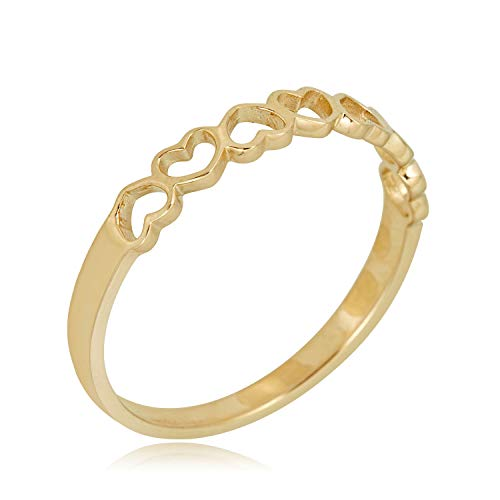 10k Gold Heart Ring - AVORA 10K Yellow Gold Polished Open Heart Ring