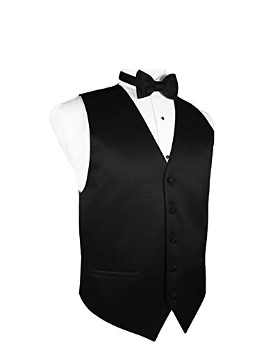 Exclusive Distributor Men's Vest & Bow Tie Set-Black XL - Mens Solid Black Suit