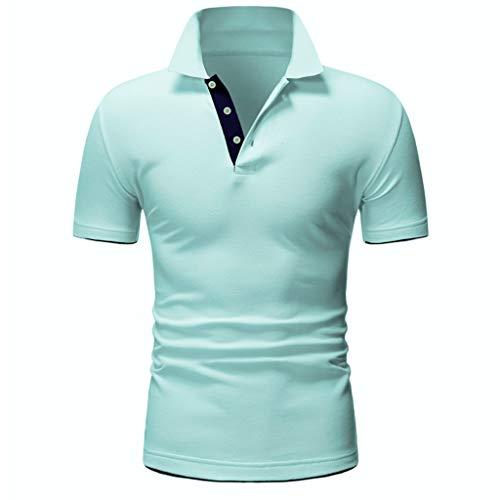 Polo Shirt Splice Regular-Fit Quick-Dry Golf Fashion Shirt Short Sleeve Casual T-Shirt Blouse Tops Men (XXL,Green) -