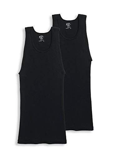 Jockey Men's T-Shirts Tall Man Classic A-Shirt - 2 Pack, Black, LT (Jockey Vests Mens)