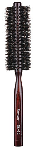 Boar Bristle Round Brush, Hair Brush with Ergonomic Natural Wood Handle, 1.3 inch, for Hair Drying, Styling, Curling, Adding Hair Volume (Best Boar Round Brush)
