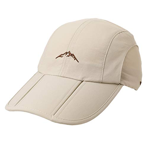 Quick Drying Rain Uv Sun Hat Men Running Sports Baseball Cap Foldable Large Bill ()