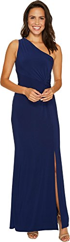 One Shoulder Womens Jersey - Laundry by Shelli Segal Women's One Shoulder Jersey Gown with Waist Twist, Midnight, 8