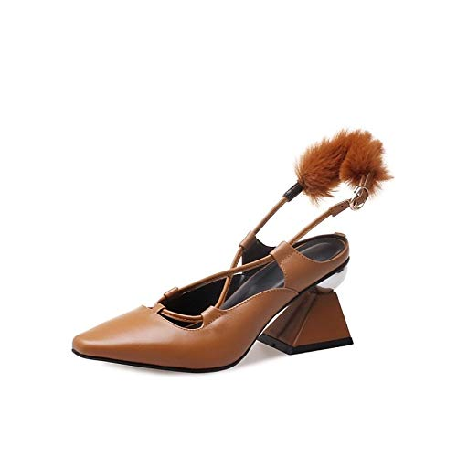 Brown Shoes White Summer Comfort Heels White Spring ZHZNVX amp; Women's Chunky Heel Leather Nappa Txn7waqZf