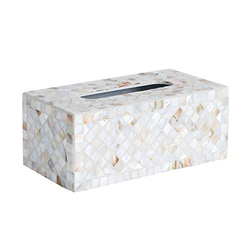 (Whole Housewares Decorative Mosaic Tissue Holder 10X5X4 Inch Rectangular MDF Tissue Box Cover (Shell))