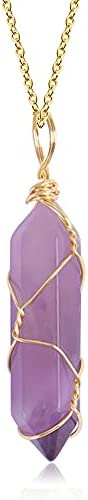 Frodete Crystal Necklaces for Women, Quartz Stone Necklace Energy Healing Crystals Jewelry Hexagonal Natural G