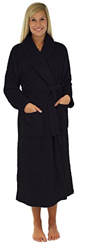 long black fleece dressing gown - 2