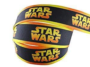 2 m x 22 mm New Star Wars schwarz mit gelben Streifen Ripsband für Geburtstag Kuchen Geschenkpapier Karten