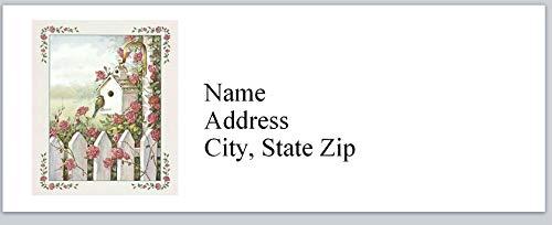 Folk Art Birdhouses - 150 Personalized Address Labels Primitive Country Folk Art Birdhouse Bird Roses (P 455)