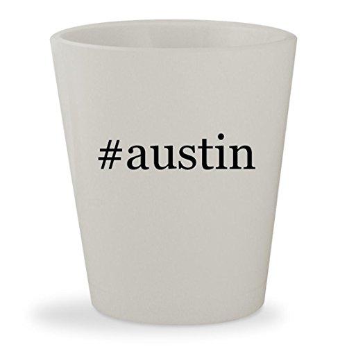 #austin - White Hashtag Ceramic 1.5oz Shot Glass
