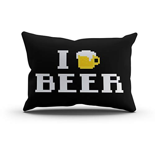 - Houlor Throw Pillow Cover 12 X 20 Inches Beer Pixel Bit Bar Pub Retro Vintage Mug Abstract Nice Party Glass Drink Silhouette Boudoir Cushion Pillowcase One Side Print for Living Room Bedroom Dorm