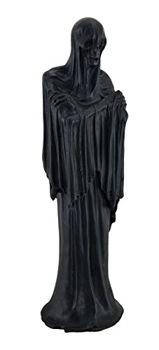 Zeckos Death s Shadow Creepy Grim Reaper Skeleton in Shroud Statue 12 in.