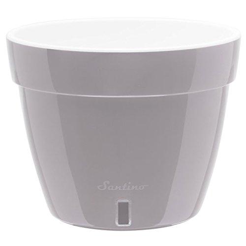 Santino Self Watering Planter Asti 7.9 Inch Grey/White Flower Pot (Self Wick Watering)