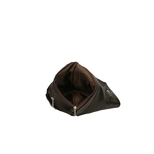 Cm Oscuro Marron Italy genuino Bolso de cuero Aren hombro de 24x24x2 in Made en mujer Cg7qnwaTx