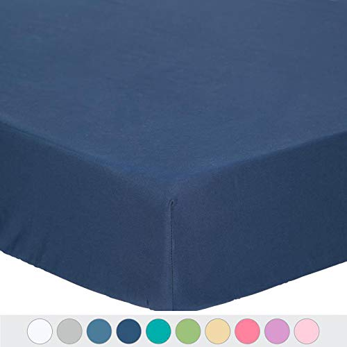 "TILLYOU Microfiber Silky Soft Crib Sheet Navy, All Seasons Fitted Toddler Mattress Sheets, 28""x 52""x 8'' Baby Sheet for Boys Girls, Navy Blue"