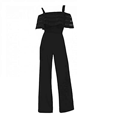 Womens Casual Jumpsuit, Off Shoulder with Straps Rompers Long Pants Loose Wide Legs Jumpsuits for Women S-2XL: Clothing